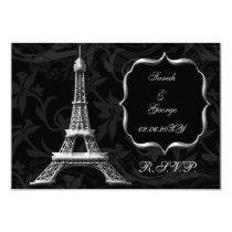 silver Eiffel tower french  rsvp standard 3.5 x 5 Card