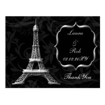 silver Eiffel tower French Thank You Postcard
