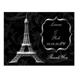 silver Eiffel tower French Thank You Postcard