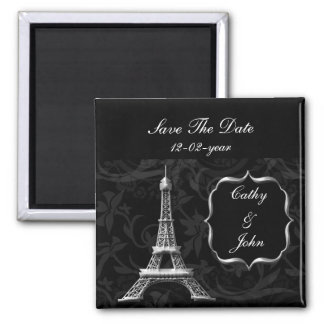 silver Eiffel Tower French wedding Save the Date 2 Inch Square Magnet