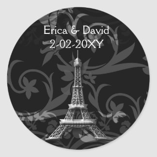 silver Eiffel Tower French wedding Seals Classic Round Sticker