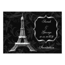 silver eiffel tower Paris wedding invitation