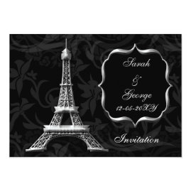 Silver Eiffel Tower Paris  Wedding Invitations