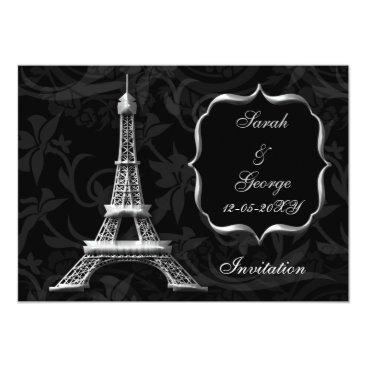 silver eiffel tower Paris wedding invitation