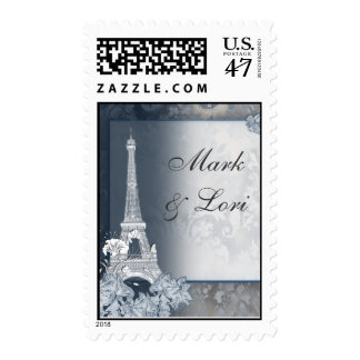 Silver Eiffel tower postage stamp