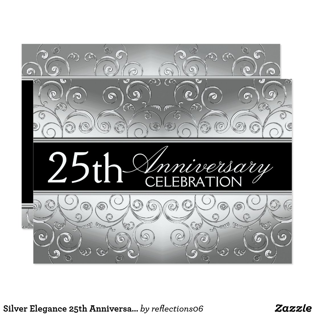 Silver Elegance 25th Anniversary Invitations
