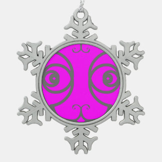 Silver Elegance Abstract Cat Magenta Snowflake Pewter Christmas Ornament