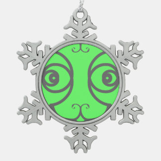 Silver Elegance Abstract Cat Mint Green Snowflake Pewter Christmas Ornament
