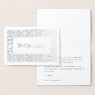 "Silver Elegance  All-Occasion ""Thank You"" Foil Card"
