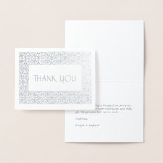 """Silver Elegance All-Occasion """"Thank You"""" Foil Note Foil Card"""