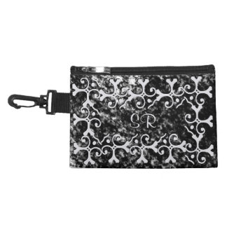 Silver Elegance Black and White Monogrammed Accessory Bag