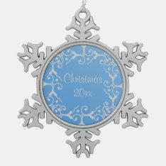 Silver Elegance Blue Christmas Snowflake Ornament at Zazzle