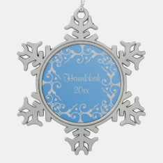 Silver Elegance Blue Hanukkah Snowflake Snowflake Pewter Christmas Ornament at Zazzle