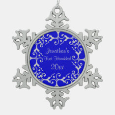 Silver Elegance First Hanukkah Snowflake Ornament at Zazzle