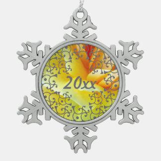Silver Elegance Golden Beauties Snowflake Ornament