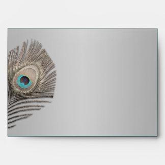 Silver Elegance Peacock Envelope