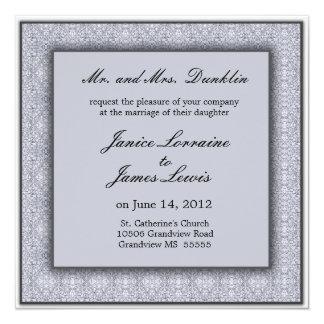 Silver elegant damask wedding invitation