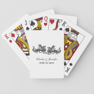 Silver Elegant Dragons Playing Cards