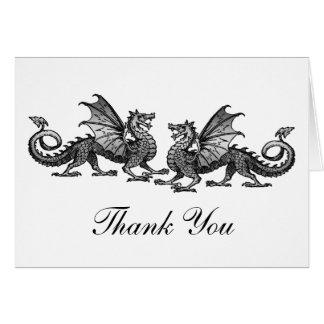 Silver Elegant Dragons Thank You Card