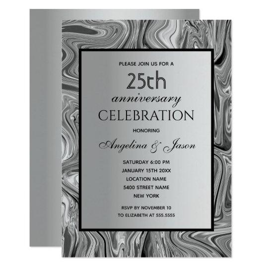 Silver Elegant Luxury 25th Wedding Anniversary Invitation