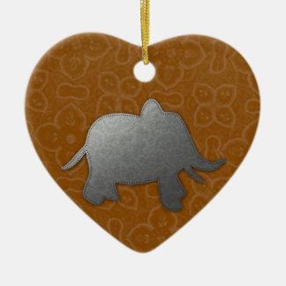 silver elephant - orange ceramic ornament
