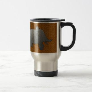 silver elephant - orange travel mug