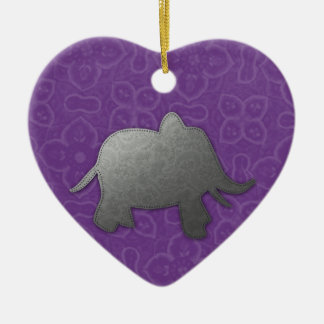 silver elephant - purple ceramic ornament