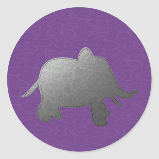 silver elephant - purple round stickers