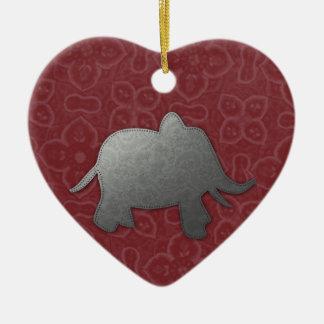 silver elephant - red ceramic ornament