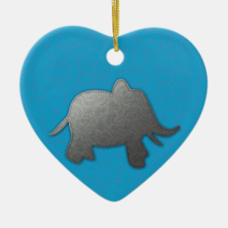 silver elephant - turquoise ceramic ornament