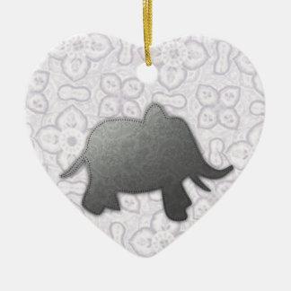 silver elephant - white ceramic ornament