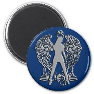 Silver Emboss Serpent Angel Magnet
