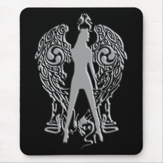 Silver Emboss Serpent Angel Mousepad