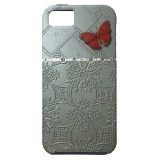 silver embossed designs w/red butterfly iPhone 5 covers