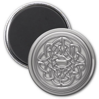 Silver Embossed Effect Cletic Knot 2 Inch Round Magnet