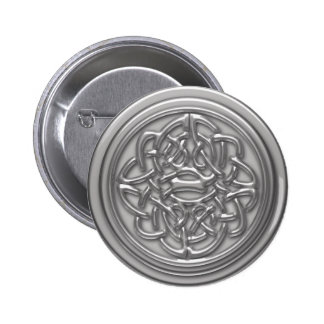 Silver Embossed Effect Cletic Knot Badge 2 Inch Round Button