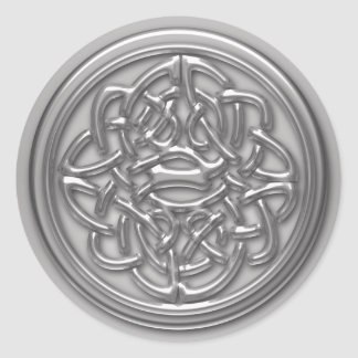 Silver Embossed Effect Cletic Knot Badge Round Classic Round Sticker