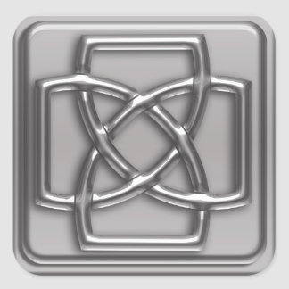 Silver Embossed Effect Cletic Knot Badge Square Sticker