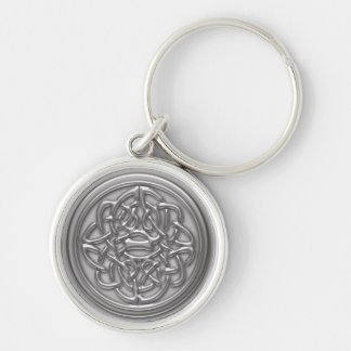 Silver Embossed Effect Cletic Knot Silver-Colored Round Keychain
