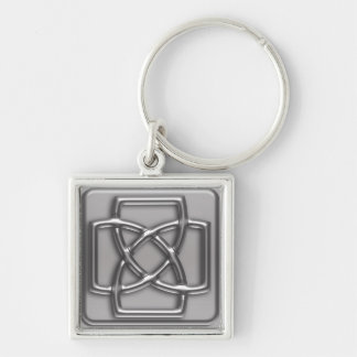 Silver Embossed Effect Cletic Knot Silver-Colored Square Keychain
