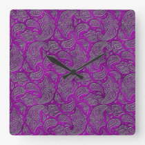 Silver embossed Paisley pattern on purple glass Square Wall Clock