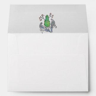 Silver Enamel and Jewel Lovebirds Announcement Envelope