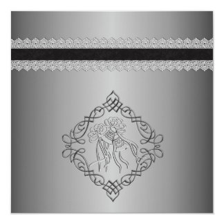 Silver Engraved Look Wedding Card