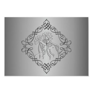 Silver Engraved Look Wedding RSVP Card