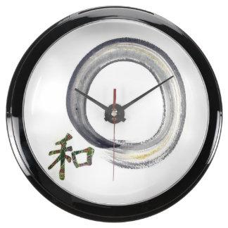 Silver Enso with Kanji character for Harmony Aquarium Clock