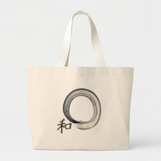 Silver enso with Kanji - harmony Tote Bags