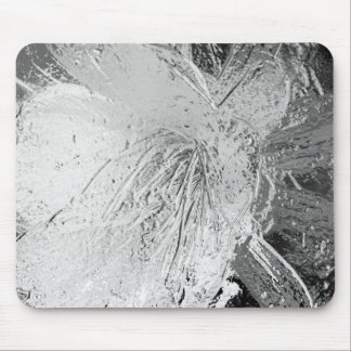 Silver Etched Cactus Flower Mouse Pad