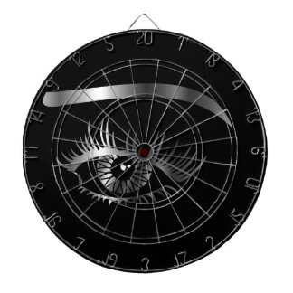 Silver eye with eyebrow and details inside dartboards