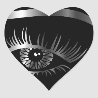 Silver eye with eyebrow and details inside heart sticker