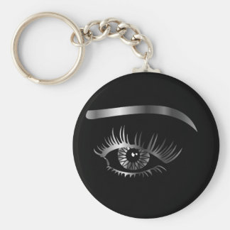 Silver eye with eyebrow and details inside keychain